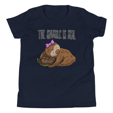 The Snuggle is Real - Sloth and Turtle - Youth Short Sleeve T-Shirt - Sloth and Sloth [Product_type], Sloth and Sloth, Baby sloth, slothandsloth