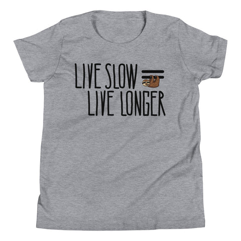 Live Slow Live Longer - Sloth Youth T-Shirt - Sloth and Sloth [Product_type], Sloth and Sloth, Baby sloth, slothandsloth