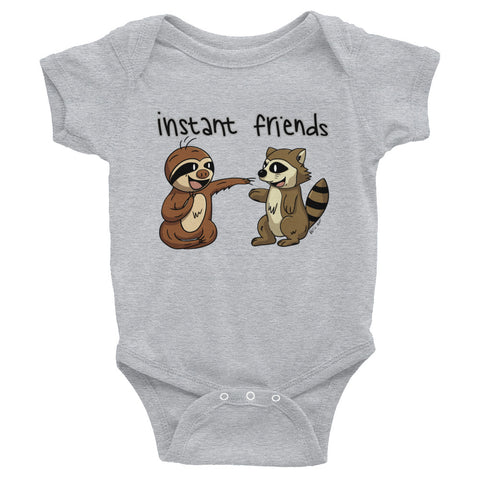 Instant Friends - Sloth and Raccoon- Baby Bodysuit Infant Clothing - Sloth and Sloth [Product_type], Sloth and Sloth, Baby sloth, slothandsloth