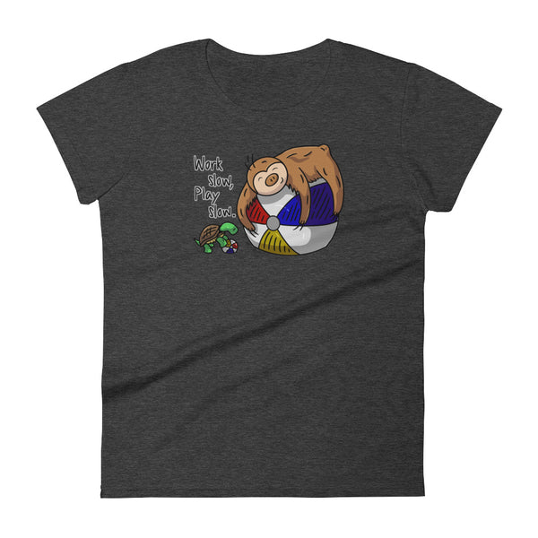 Work Slow, Play Slow - Short-Sleeve Women's T-Shirt - Sloth and Sloth [Product_type], Sloth and Sloth, Baby sloth, slothandsloth