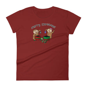 Merry Christmas - Short-Sleeve Women's T-Shirt - Sloth and Sloth [Product_type], Sloth and Sloth, Baby sloth, slothandsloth