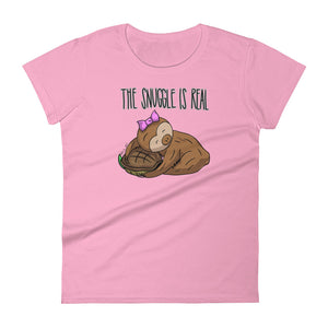 The Snuggle is Real - Short-Sleeve Women's T-Shirt - Sloth and Sloth [Product_type], Sloth and Sloth, Baby sloth, slothandsloth