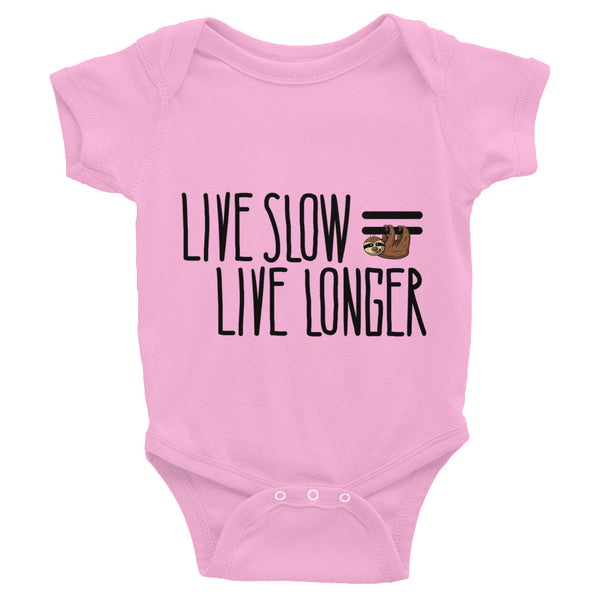 Live Slow, Live Longer - Sloth - Baby Bodysuit Infant Clothing - Sloth and Sloth [Product_type], Sloth and Sloth, Baby sloth, slothandsloth