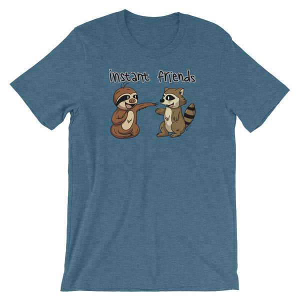 Instant Friends - Sloth and Raccoon - Short-Sleeve Men's/Unisex T-Shirt - Sloth and Sloth [Product_type], Sloth and Sloth, Baby sloth, slothandsloth