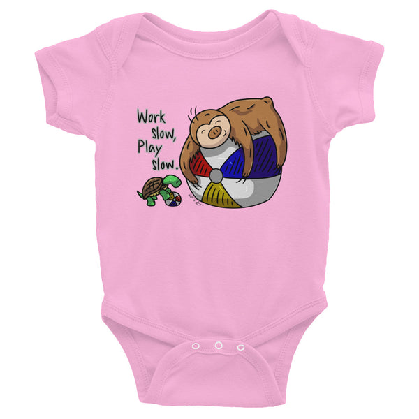Work Slow, Play Slow - Sloth and Turtle - Baby Bodysuit Infant Clothing - Sloth and Sloth [Product_type], Sloth and Sloth, Baby sloth, slothandsloth
