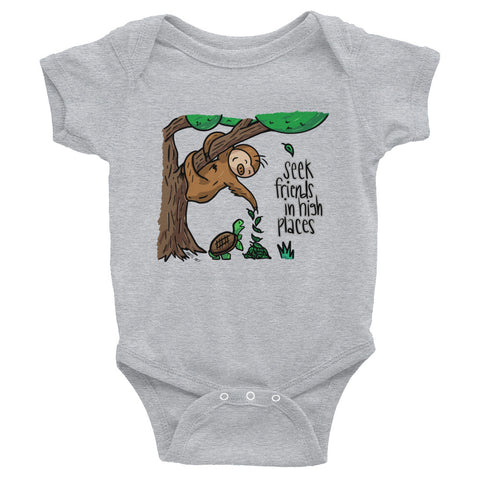 Seek Friends in High Places - Sloth and Turtle - Baby Bodysuit Infant Clothing - Sloth and Sloth [Product_type], Sloth and Sloth, Baby sloth, slothandsloth