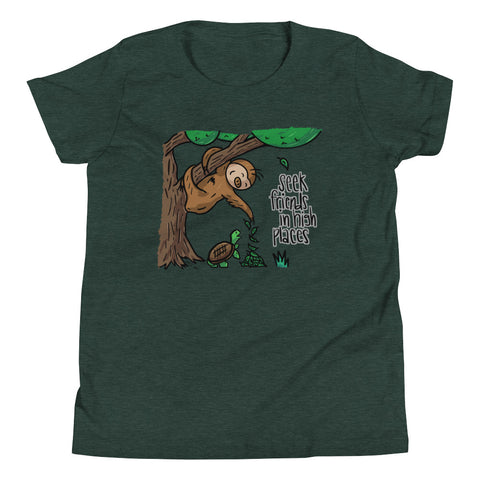 Seek Friends in High Places - Sloth and Turtle - Youth Short Sleeve T-Shirt - Sloth and Sloth [Product_type], Sloth and Sloth, Baby sloth, slothandsloth