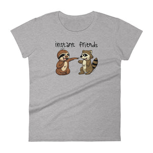 Instant Friends - Sloth and Raccoon - Short-Sleeve Women's T-Shirt - Sloth and Sloth [Product_type], Sloth and Sloth, Baby sloth, slothandsloth