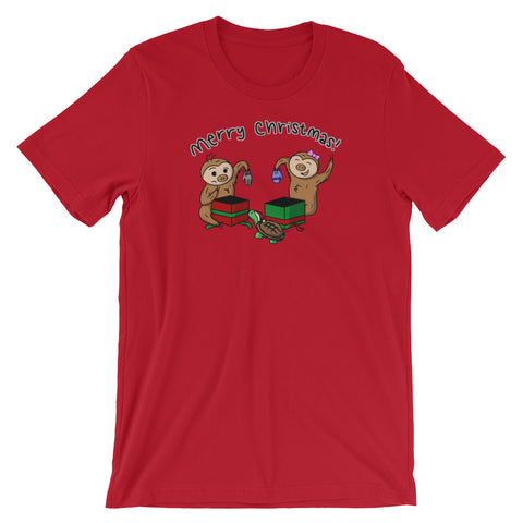 Merry Christmas - Two Toed Sloth and Turtle - Short-Sleeve Men's/Unisex T-Shirt - Sloth and Sloth [Product_type], Sloth and Sloth, Baby sloth, slothandsloth