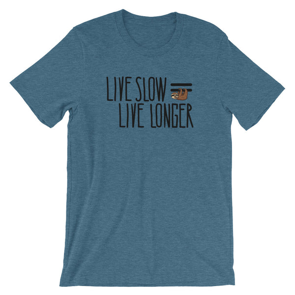 Live Slow, Live Longer - Short-Sleeve Men's/Unisex T-Shirt - Sloth and Sloth [Product_type], Sloth and Sloth, Baby sloth, slothandsloth