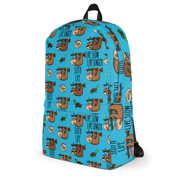 Sloth Pattern Blue Backpack - Live Slow, Live Longer Tech Bag - Sloth and Sloth [Product_type], Sloth and Sloth, Baby sloth, slothandsloth