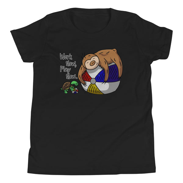 Work Slow, Play Slow - Sloth and Turtle - Youth Short Sleeve T-Shirt - Sloth and Sloth [Product_type], Sloth and Sloth, Baby sloth, slothandsloth