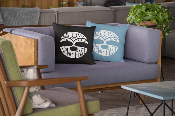 Slow is the New Fast - 2-Sided Black/Blue - Pillow (stuffed) - Sloth and Sloth [Product_type], Sloth and Sloth, Baby sloth, slothandsloth