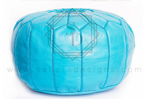 Turquoise Moroccan Leather Ottoman Pouf