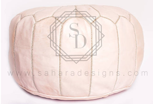 Pearl Moroccan Leather Ottoman Pouf