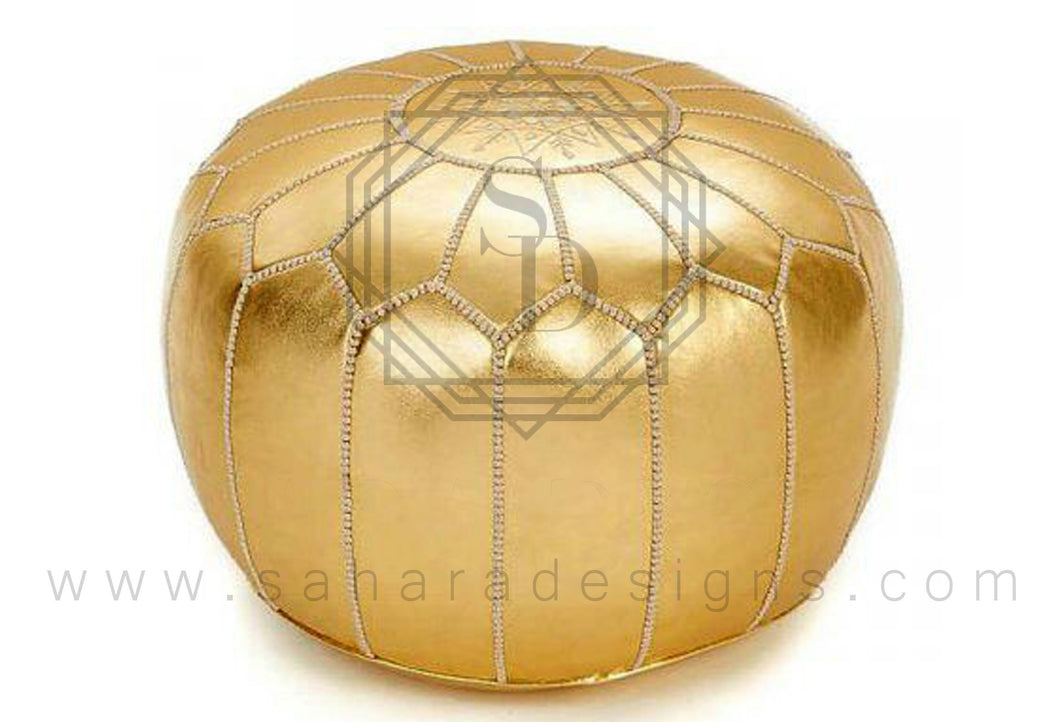 Pur Gold Moroccan Leather Ottoman Pouf