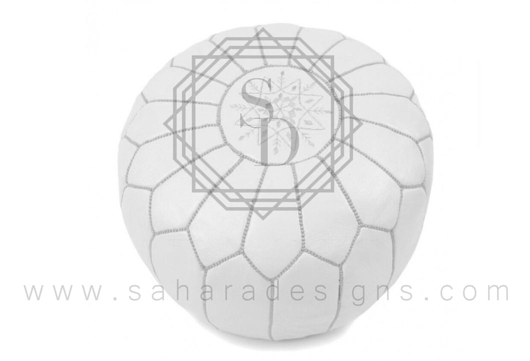 All White Moroccan Leather Ottoman Pouf