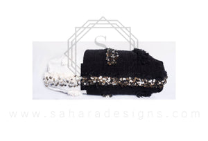 Black and White Moroccan Ottoman Pouf Made in Wedding Handira Blanket