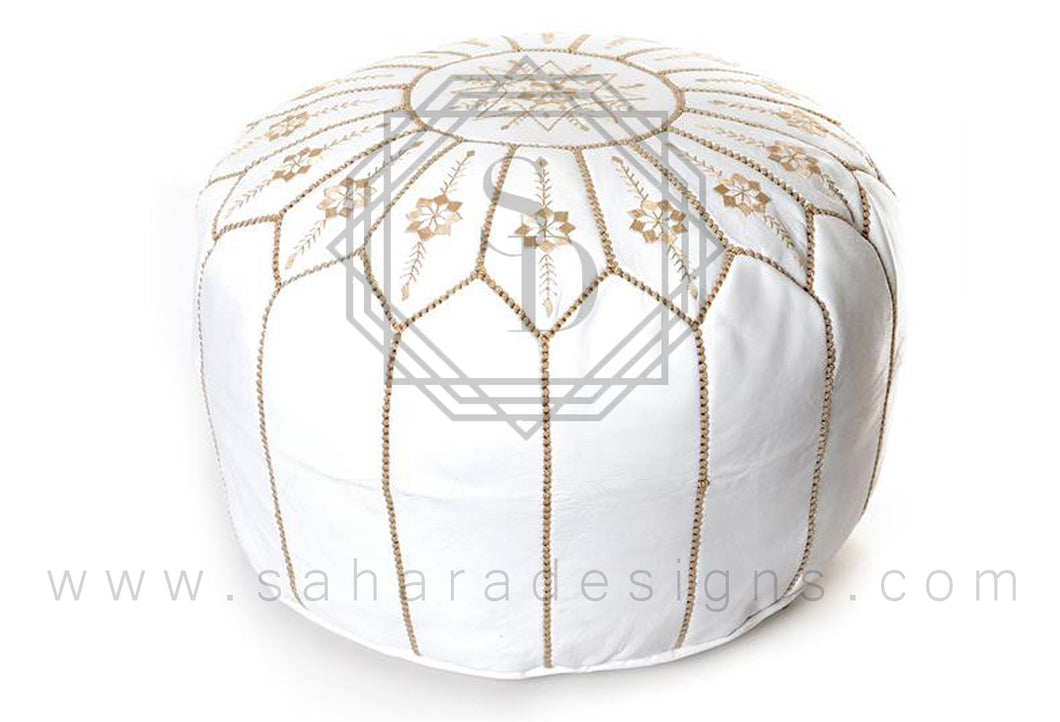 White and Gold Moroccan Leather Ottoman Pouf