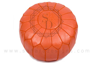 Orange Moroccan Leather Ottoman Pouf