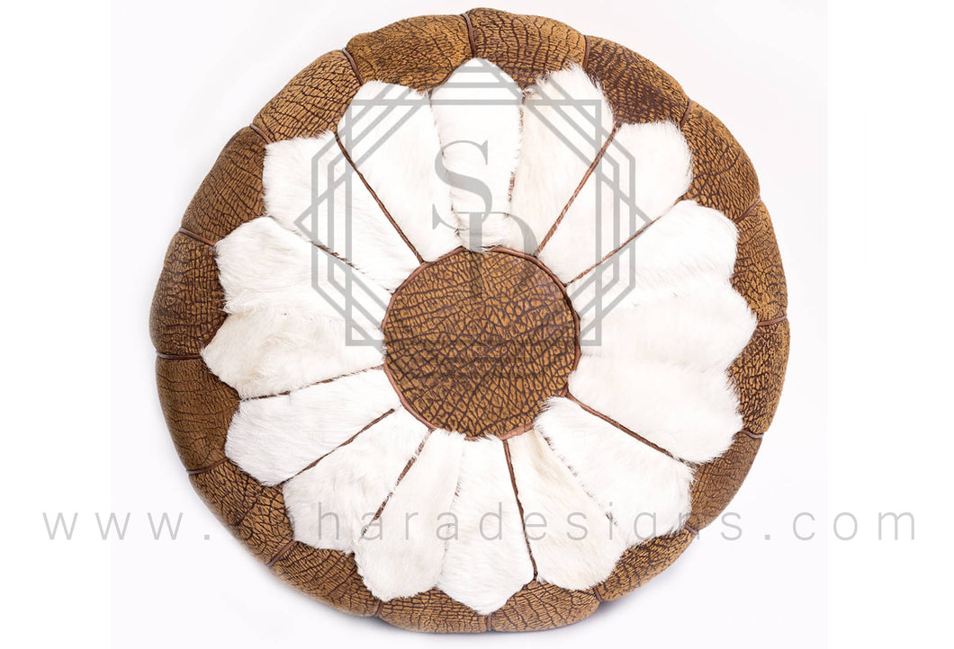 Daisy Moroccan Leather Ottoman Pouf