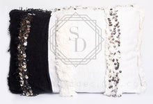 White and Black Moroccan Ottoman Pouf Made in Wedding Handira Blanket