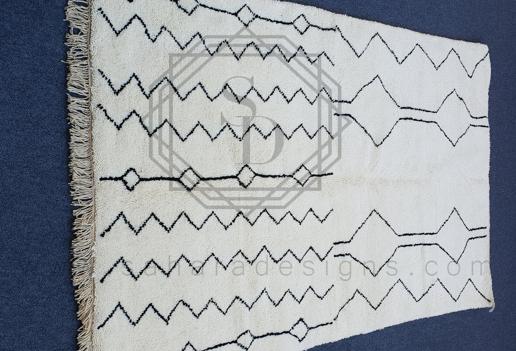 Creative Amazigh Style White and Black Beni Ouarain Rug