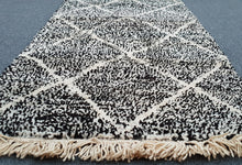 Grey and White Beni Ouarain Runner Berber Rug
