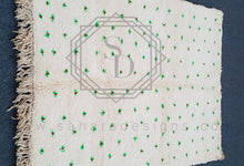 New Design Green flower on white Beni Ouarain Berber Wool Rug