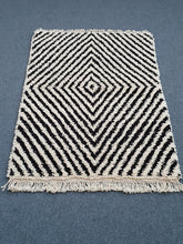 Zebra Striped Black and White Beni Ouarain Rug