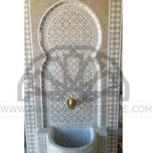 Moroccan mosaic wall fountain