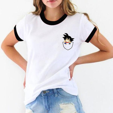 T-Shirt Dragon Ball Z Femme Goku Pocket