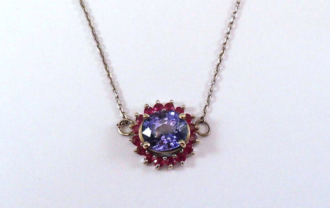 Tanzanite and Ruby Burst of Color Pendant