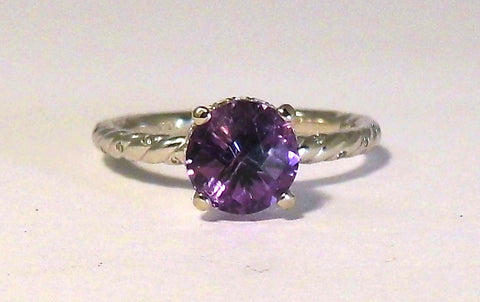 Twisted Amethyst and Diamond Ring