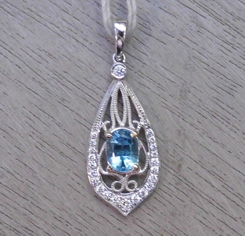 Victorian Aqua and Diamond Pendant