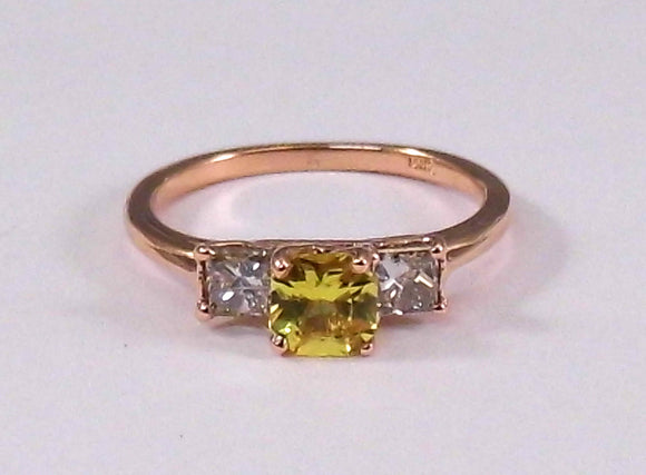 Yellow Sappire and Diamond Three Stone Ring