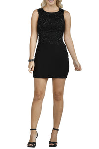 Classic Bodycon Floral Applique Short Black Evening Dress