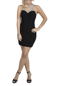 Classic Sheer Bodycon Short Black Evening Dress