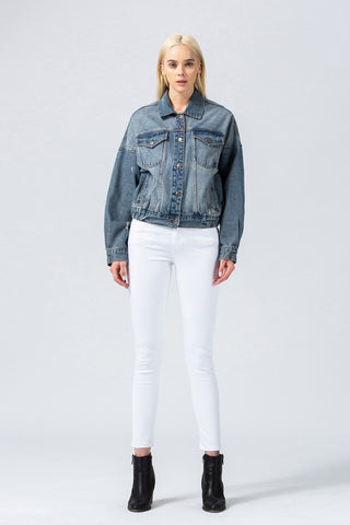 Oversized Short Denim Jacket with Elastic Waistband - Denim