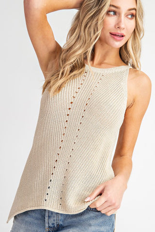 Thin Sweater Knit Tank with Detail down Front -Oatmeal