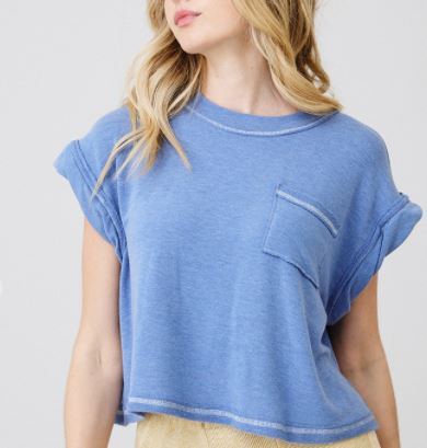 Cuffed Solid Crop Tee- Blue