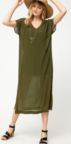 Sheer Olive Dress with Shift Dress Liner - Olive