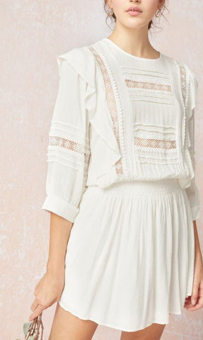 Boho Mini Dress - White