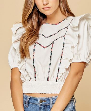 Puff Sleeve Blouse- White