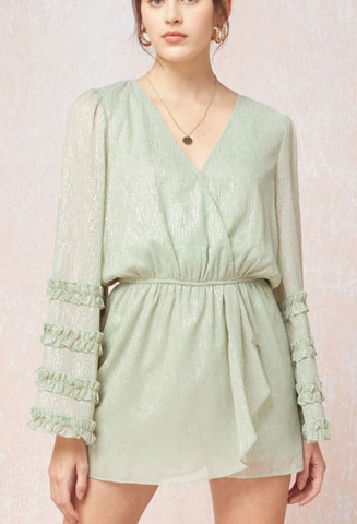 Long Sleeve Chiffon Romper with Metallic Accent-Sage