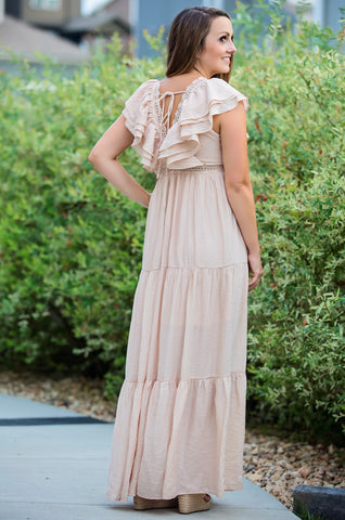 Romantic Lace Trimmed Dress- Blush