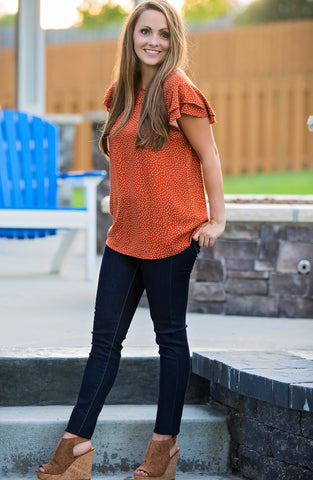 Ruffle Cap Sleeve Polka Dot Blouse - Rust