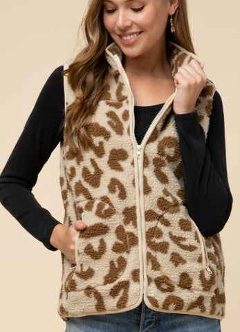 Thick Fleece Leopard Print Vest-Natural