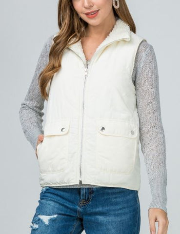 Reversible Quilted Vest with Sherpa Lining- Ivory