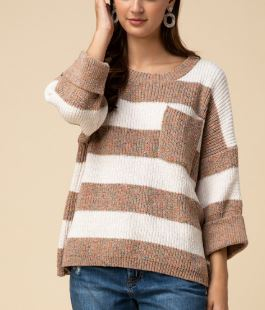 Wide Striped Sweater - Mocha